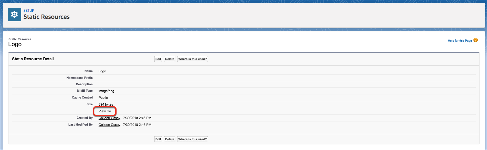 Link Exibir arquivo na página de detalhes do recurso estático