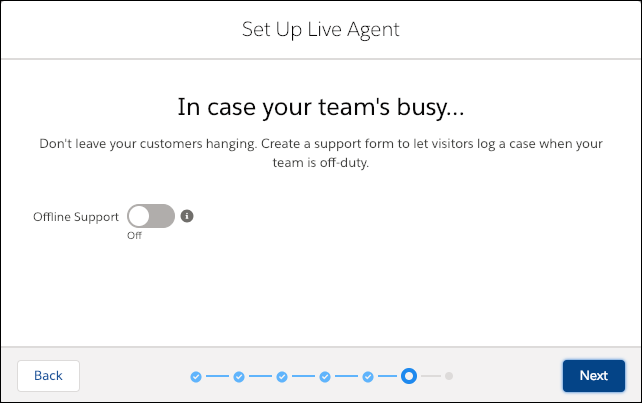 The Offline Support screen in the Live Agent setup flow with offline support disabled.