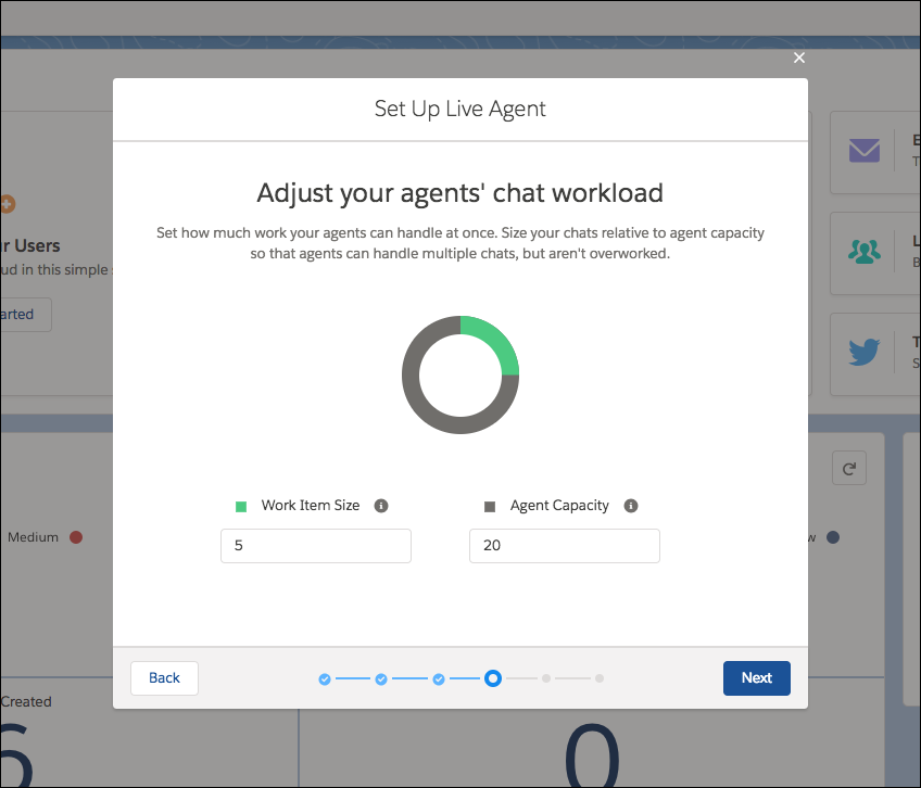 Agent workload screen in the Live Agent setup flow