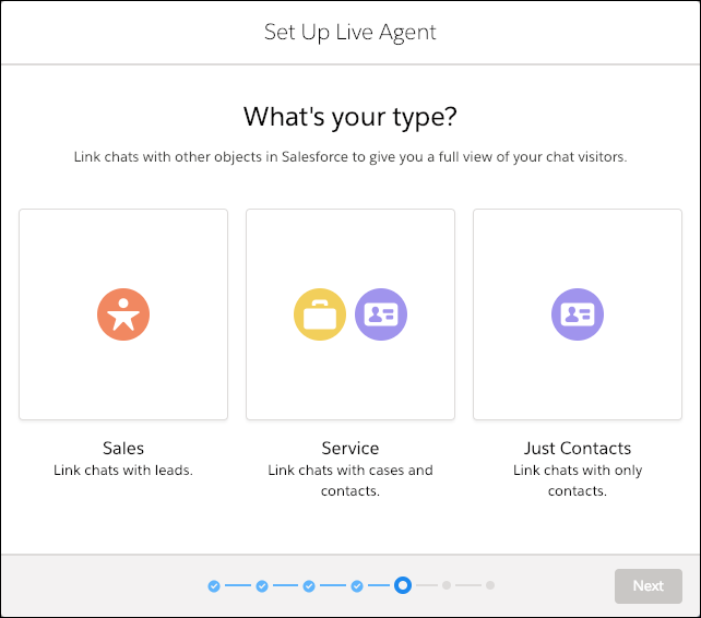 Chat type selection screen in the Live Agent setup flow.