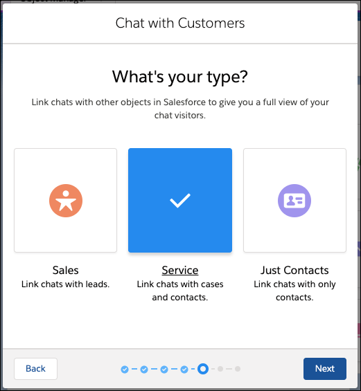 Chat type selection screen in the Chat setup flow.