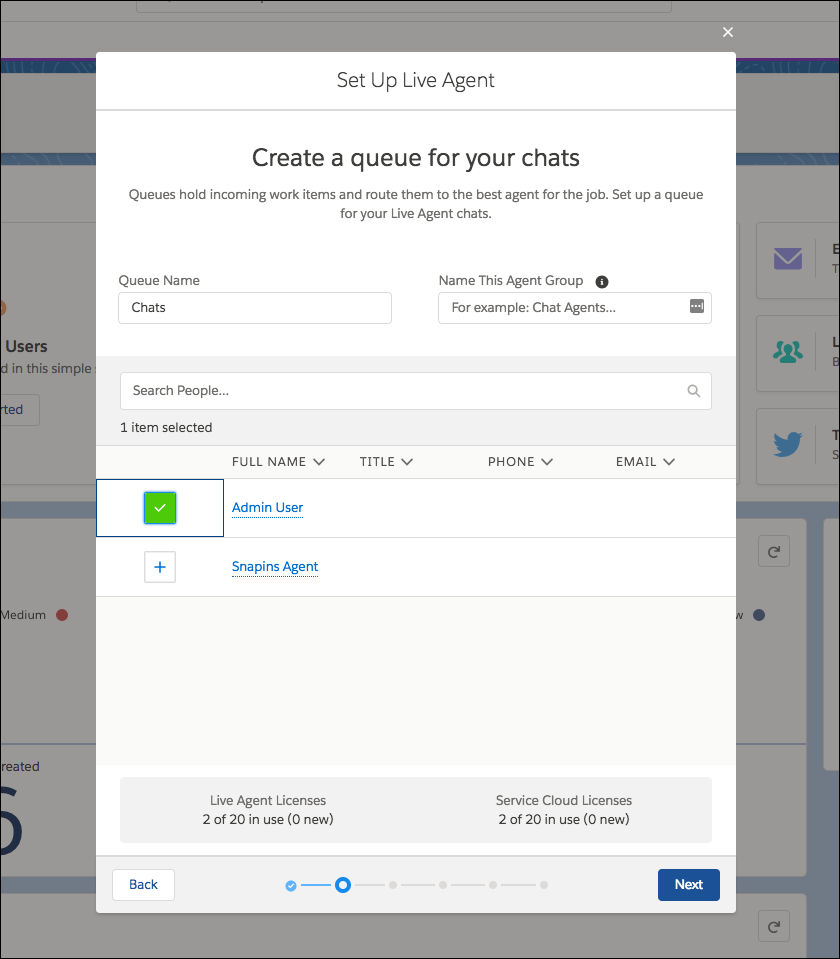 Create a chat queue screen in the Live Agent setup flow