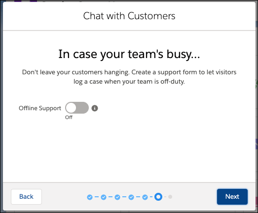 The Offline Support screen in the Chat setup flow with offline support disabled.