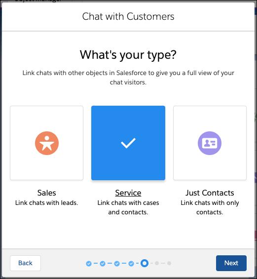 Bildschirm für die Auswahl des Chat-Typs im Chat-Setup-Flow