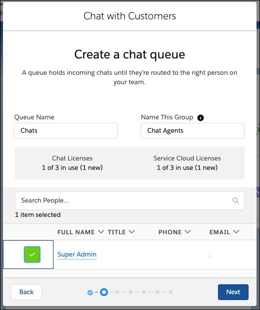 Bildschirm zum Erstellen einer Chat-Warteschlange im Chat-Setup-Flow