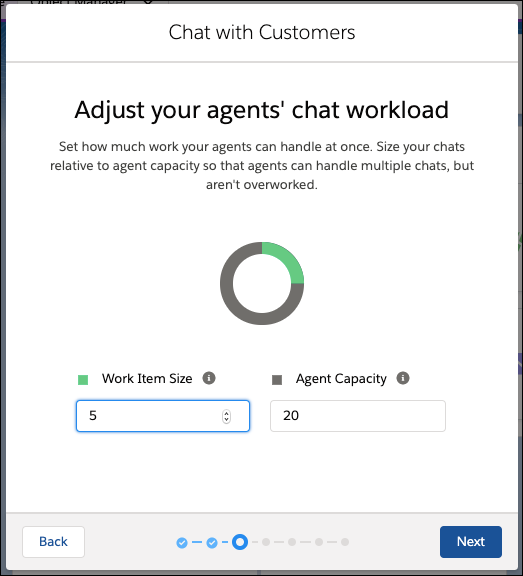 Agent workload screen in the Chat setup flow