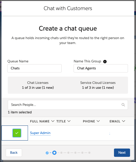 Écran Créer une file d'attente de chat dans le flux de configuration de Chat