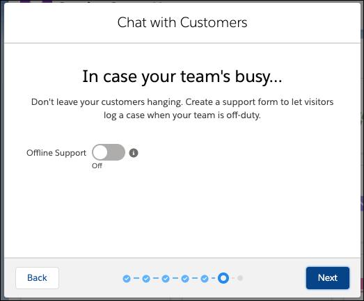 Écran du support hors ligne dans le flux de configuration de Chat avec le support hors ligne désactivé.