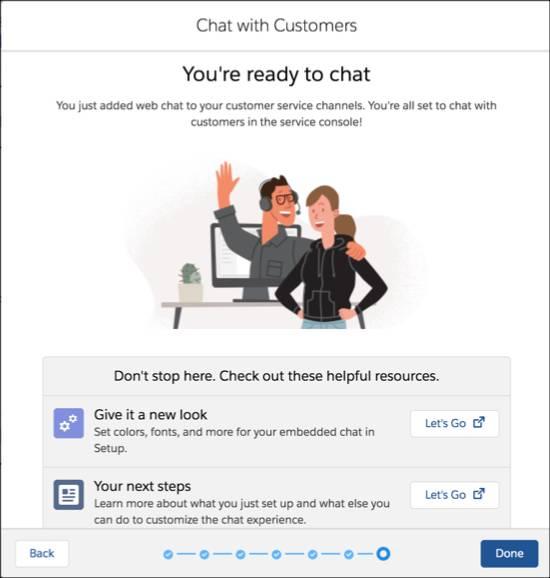 Écran de fin du flux de configuration de Chat