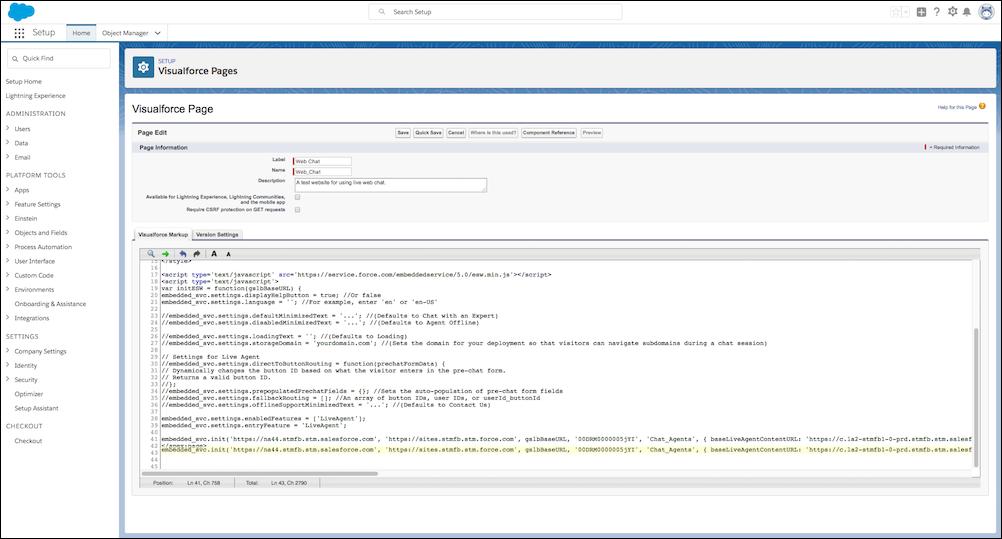 L'extrait de code fourni avec l'extrait de code Snap-in dans l'éditeur de page Visualforce