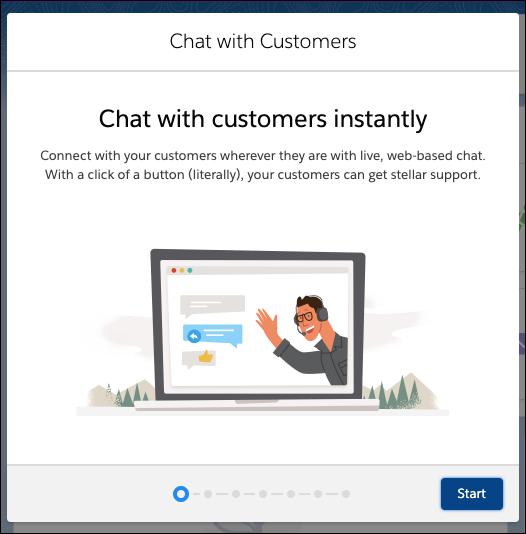 Écran de démarrage comportant des informations dans le flux de configuration de Chat