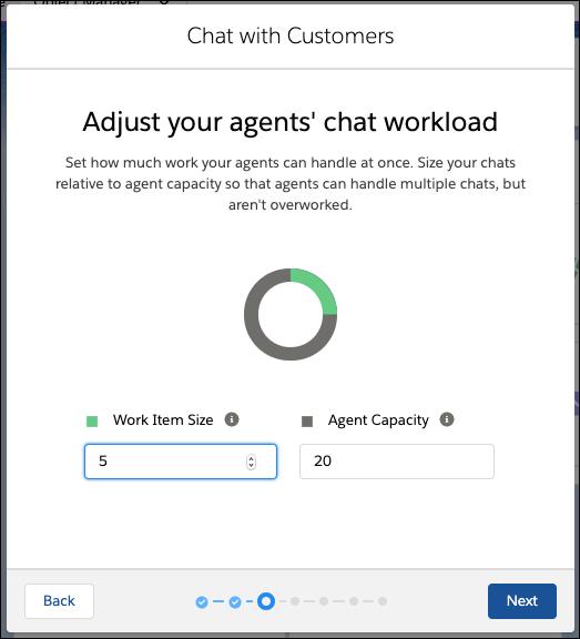 Écran de charge de travail de l'agent dans le flux de configuration de Chat