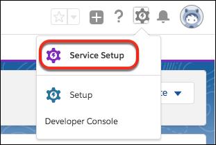 Onde encontrar Configuração do serviço no Salesforce