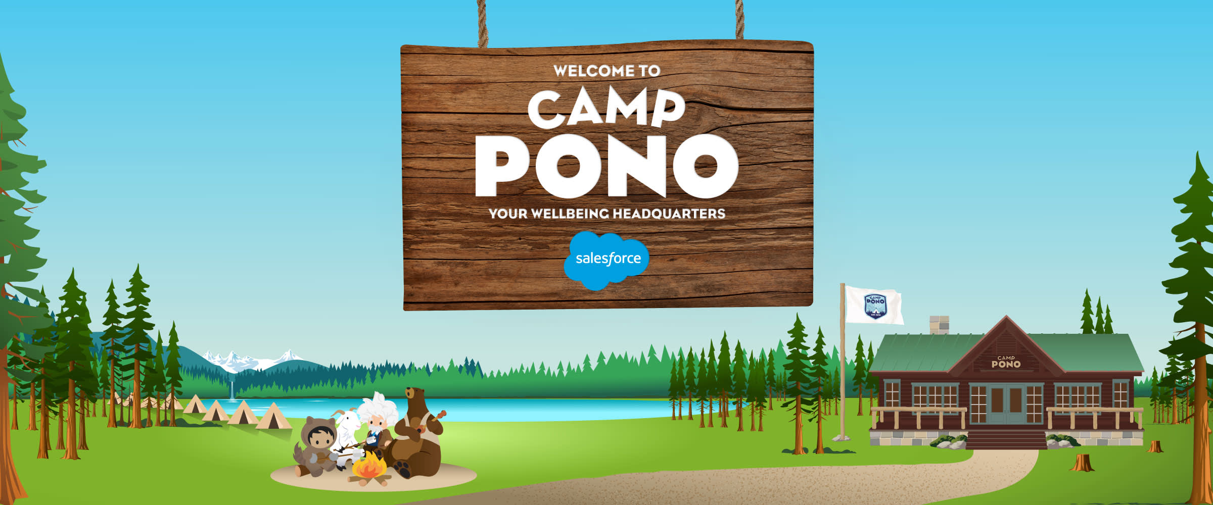 The Camp Pono website header featuring a campfire scene and camp headquarters.
