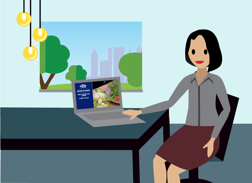 Image of a person watching a video about healthy eating on her laptop.