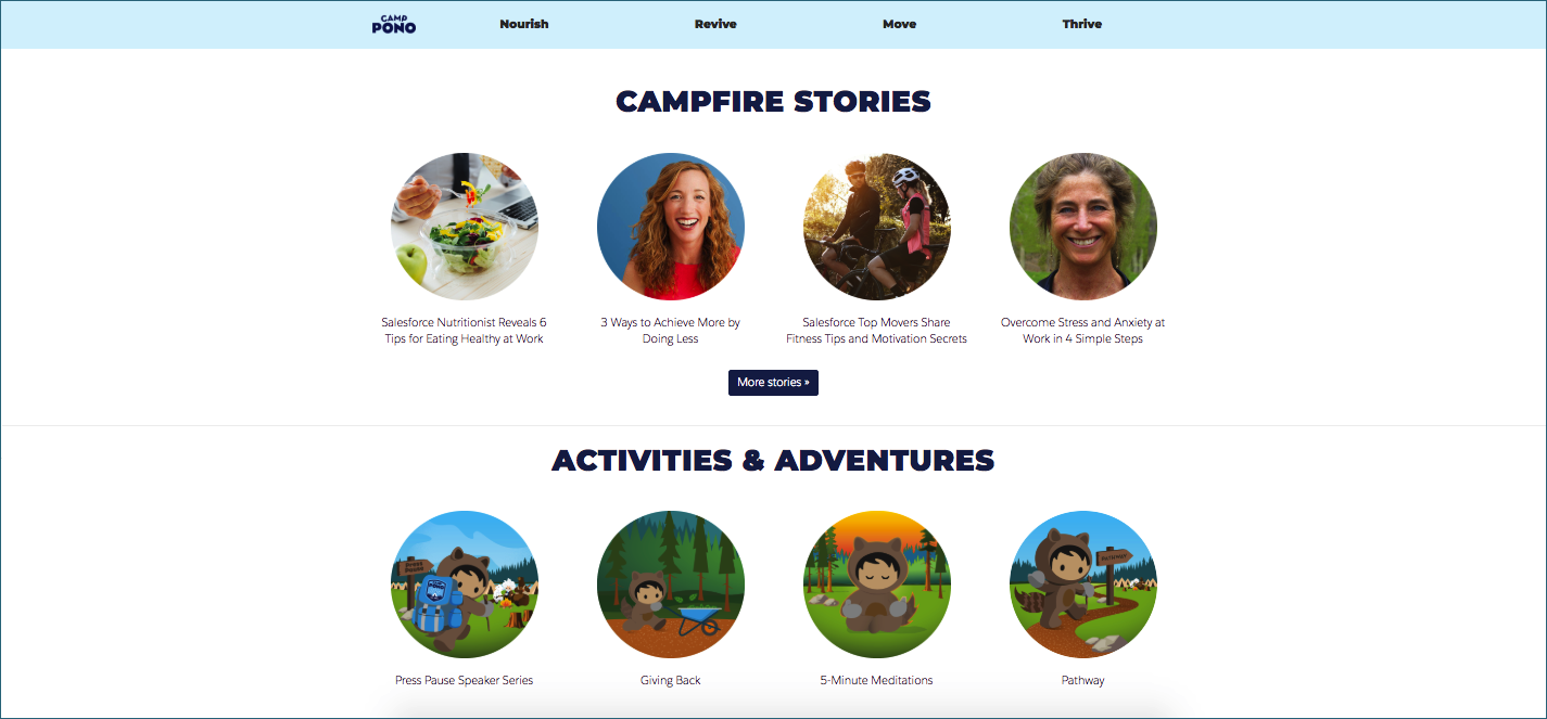 An image of the Camp Pono website front page which highlights stories, activities and adventures, and more.