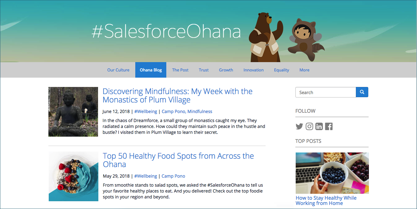 An image of the Salesforce Ohana blog, Salesforce's internal blog where campfire stories for Camp Pono are posted.