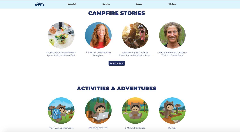 Abbildung der Startseite der Camp B-Well-Website mit Hinweisen auf Geschichten, Aktivitäten, Abenteuern und vielem mehr.