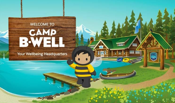 Schild 'Welcome to Camp B-Well' mit winkendem Astro und Camp-Blockhütte im Hintergrund