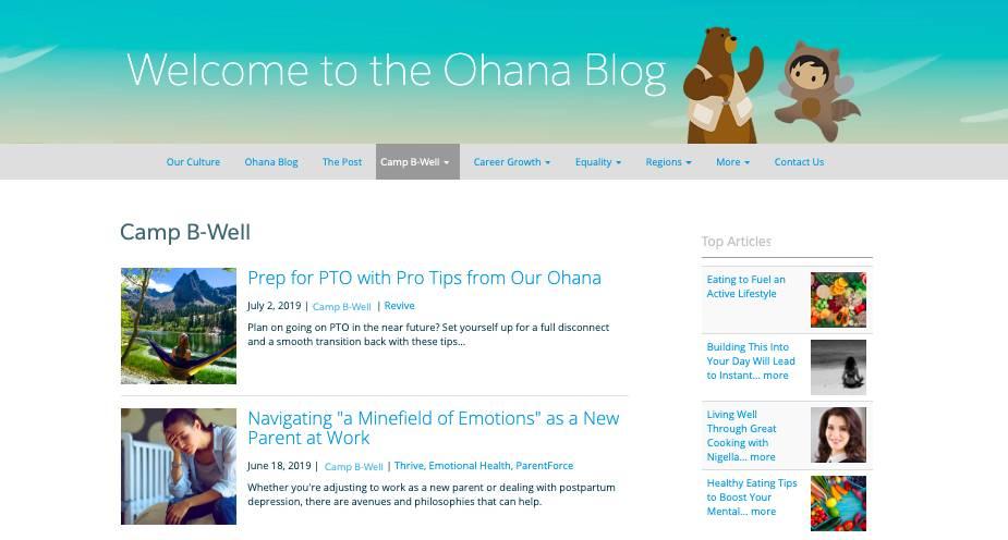 Une capture de Salesforce Ohana, le blog interne de Salesforce où sont publiés des témoignages (histoires au coin du feu) relatifs au CampB-Well.