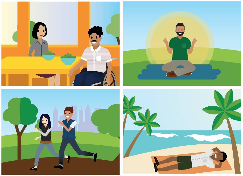Des participants au programme CampB-Well mangent, méditent, courent et sont allongés. Cela représente quatre des principales composantes du CampB-Well: s'alimenter, se recharger, bouger et s'épanouir.