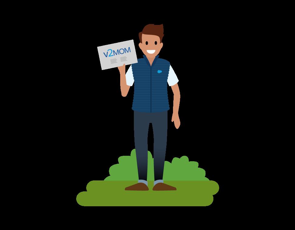 Image d'un employé tenant un V2MOM, un acronyme qui signifie Vision, Valeurs, Méthodes, Obstacles et Mesures.