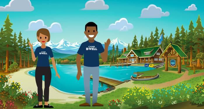 Camp-Besucher vor der großen Blockhütte von Camp B-Well.