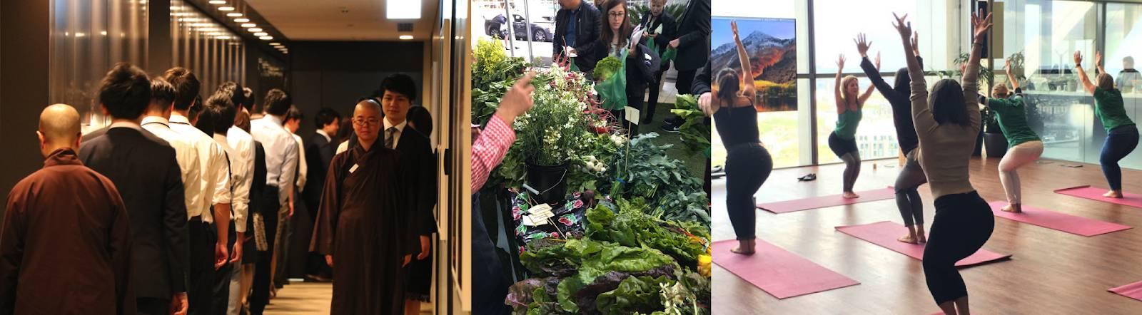 Verschiedene Fotos von Mitarbeitern bei Aktivitäten zur Förderung des Wohlbefindens, wie etwa eine Achtsamkeits-Session, ein Bauernmarkt und ein Fitness-Kurs