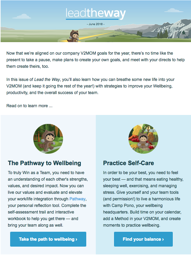 Bi-monthly Manager newsletter highlighting the importance of practicing Self-Care.