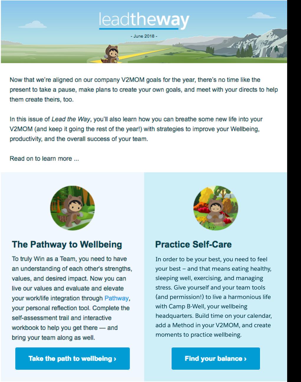 Bulletin bimestriel destiné aux responsables qui met l'accent sur l'importance de prendre soin de soi.