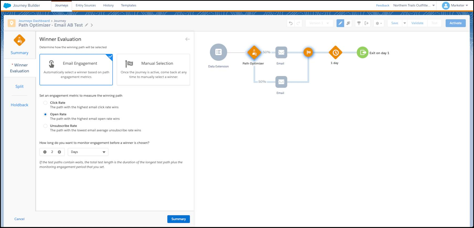 Um caminho de teste A/B de email no Path Optimizer