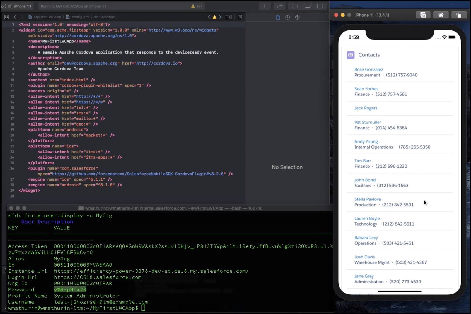 Un composantWeb Lightning dans une application mobile personnalisée