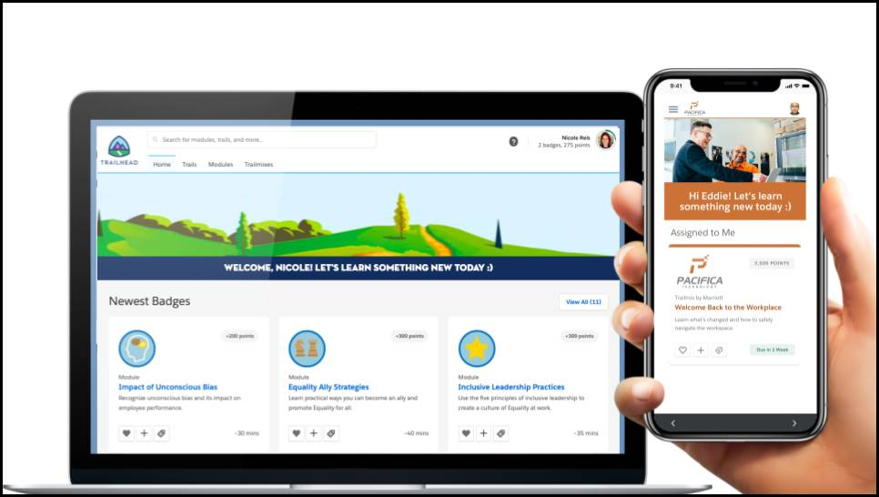 myTrailhead equality and inclusion content on mobile screens