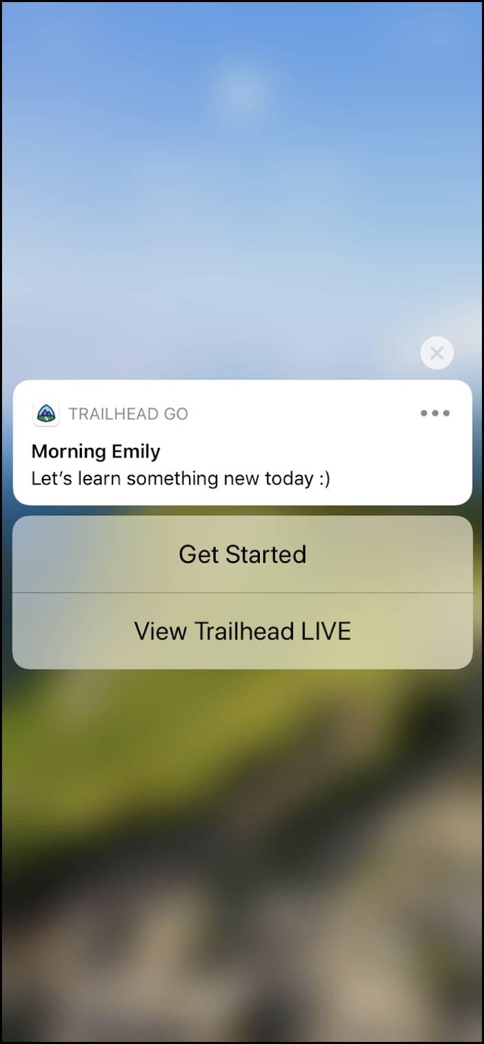 Lembrete do Trailhead GO em uma tela de dispositivo móvel