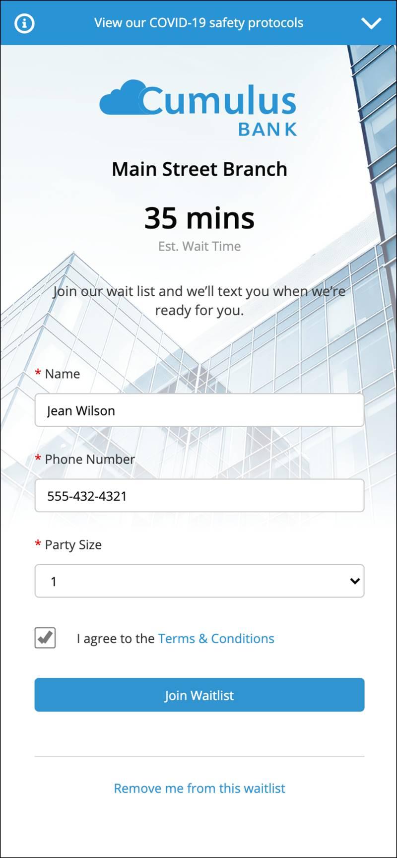 モバイルの順番待ちリストの登録ページ