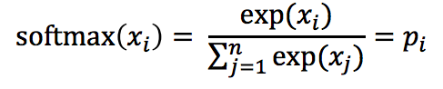 The function softmax of x sub i equals frac the function exp of x sub i over the sum over j from 1 to n of the function exp of x sub j endfrac equals p sub i.