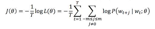 The function J of theta equals negative frac 1 over T end frac times the log of the function of L of theta equals negative frac 1 over T endfrac times the sum over t from 1 to T of the sum over j of negative m to m (with m not equal 0) of the log of the function P of w sub t plus j endsub given w sub t endsub, given theta.