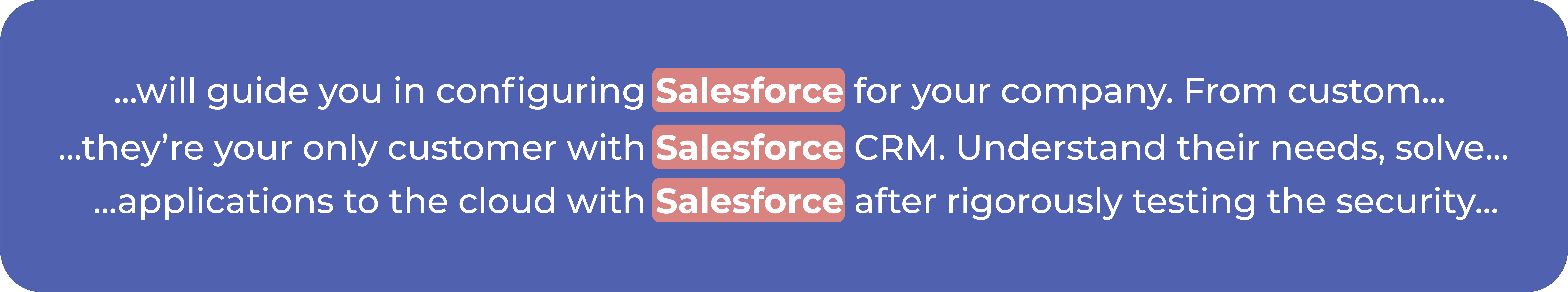 Three sentences where Salesforce is the target word with a window size of 5 on each side.