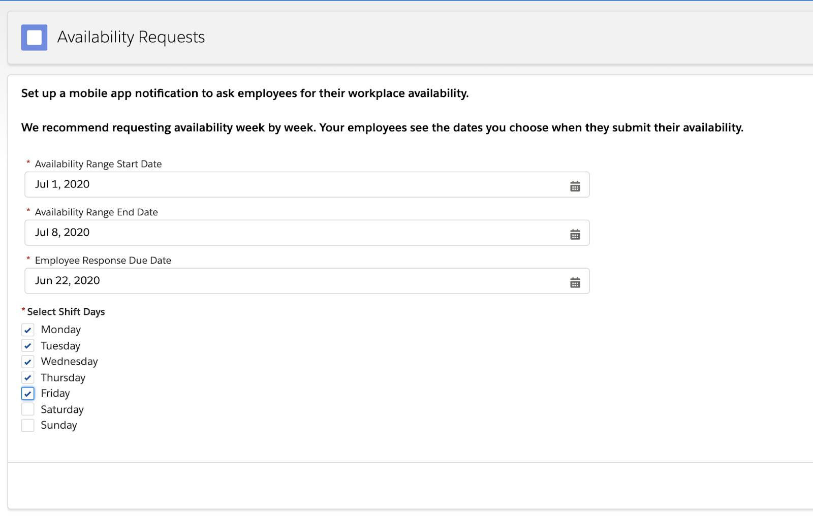 Availability Requests window that a scheduler would use to send a mobile notification to employees