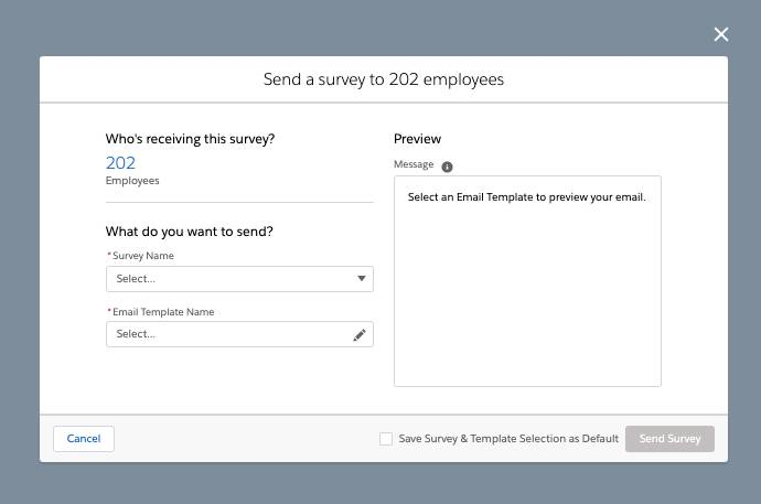 Employee Wellness Check window that allows you to select the survey and email template for employees