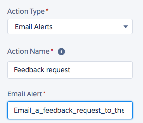 Configuring an email alert action in Process Builder