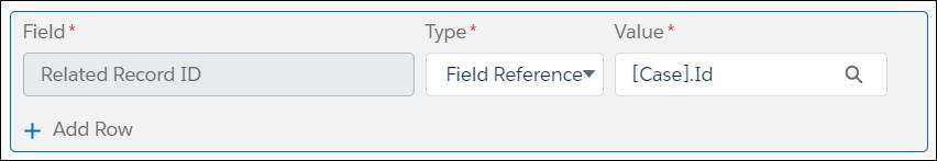 Configuración de Id. de Registro relacionado para una acción rápida