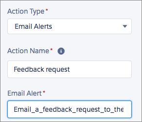 Configuración de una acción de alerta de email en Process Builder