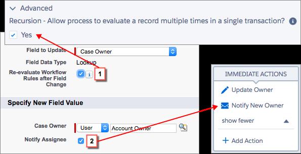 Representación visual de cómo opciones adicionales en actualizaciones de campo corresponden a ajustes en Process Builder