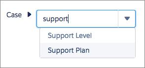 Selección de Plan de asistencia en el selector de campos de Process Builder