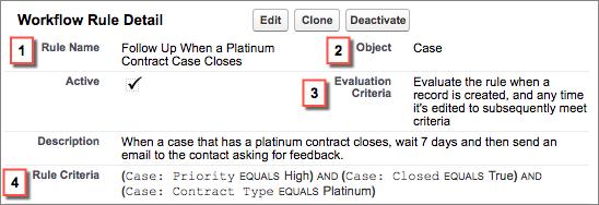 Página de detalles de regla de flujo de trabajo