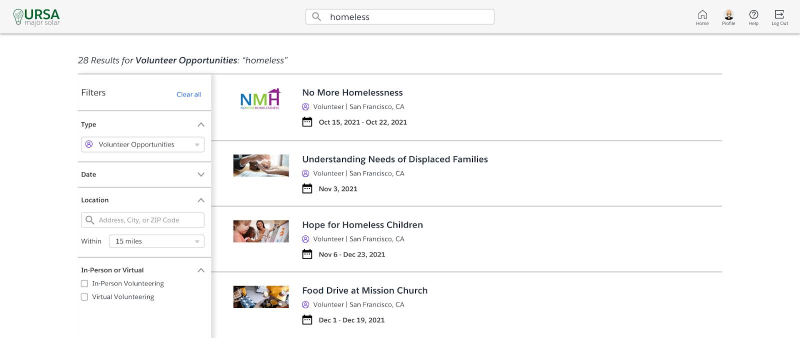 Search results for Homeless and Volunteer Opportunities