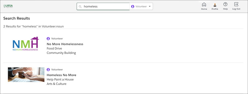 Display of Search results for Homeless and Volunteering