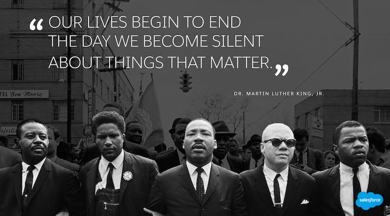 """Imagen correspondiente de Martin Luther King, Jr. con la cita: """"Nuestras vidas empiezan a acabarse el día que guardamos silencio sobre las cosas que realmente importan""""."""