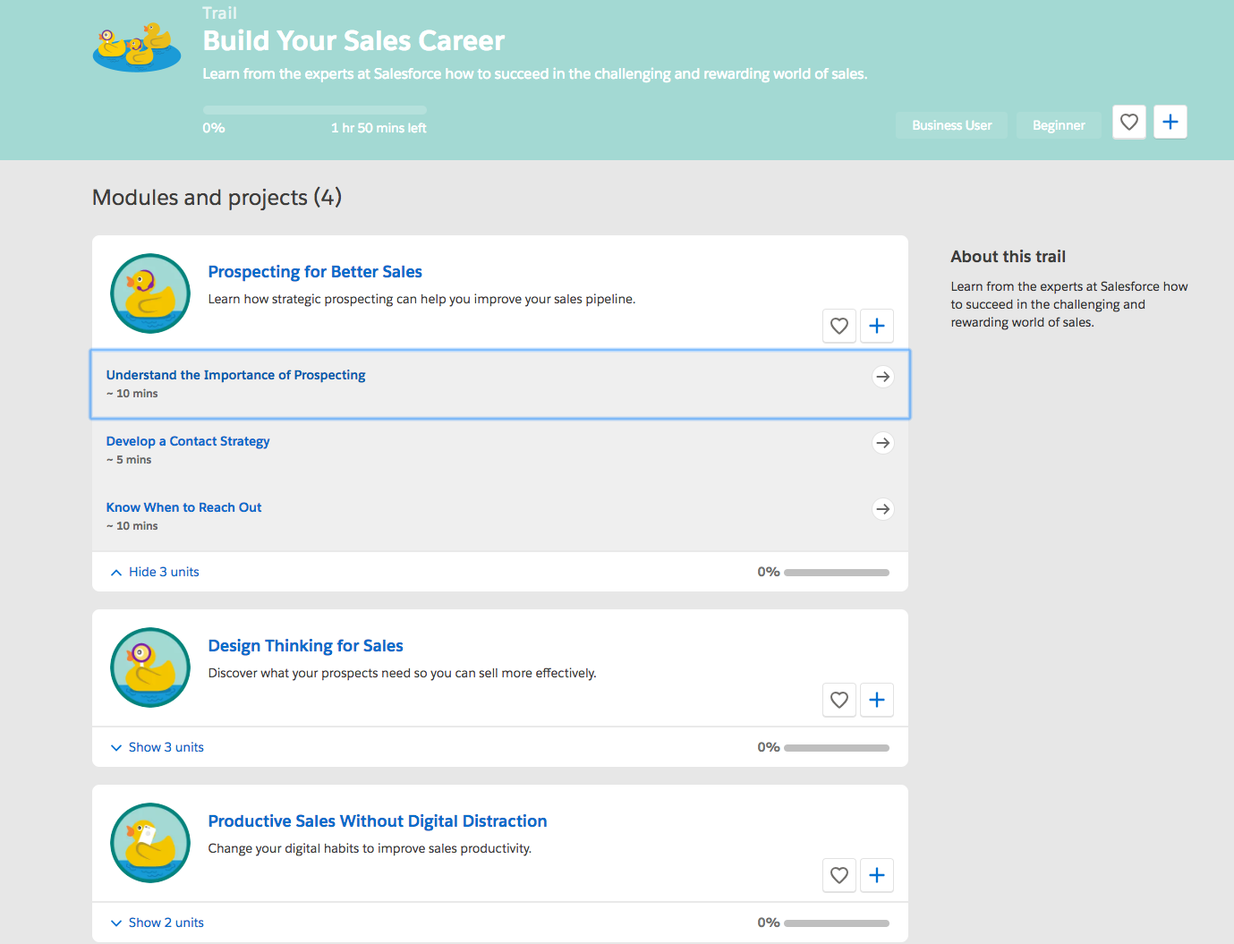 A screenshot of the Build Your Sales Career trail with its modules, showing the unit topics for the first module